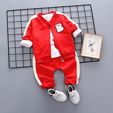 Bebelus Unisex Vintage Negru & Roșu Mată / Geometric Plisată Manșon scurt In Set Îmbrăcăminte / Copil