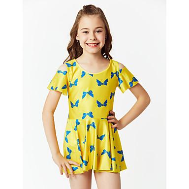Χαμηλού Κόστους Ρούχα για Κορίτσια-Παιδιά Κοριτσίστικα Μπόχο Αθλητικά Φλοράλ Κλασσικό στυλ Κοντομάνικο Πολυεστέρας Νάιλον Spandex Μαγιό Μαύρο