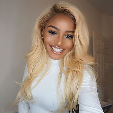 Human Hair Glueless Lace Front / Lace Front Wig Natural Wave Wig 130% Ombre Hair / Natural Hairline / African American Wig Women's Short / Medium Length / Long Human Hair Lace Wig / 100% Hand Tied