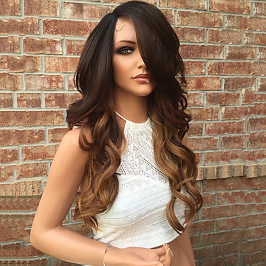 Human Hair Glueless Lace Front / Lace Front Wig Brazilian Hair Wavy Wig Layered Haircut 130% With Baby Hair / Ombre Hair / Natural Hairline Ombre Women's 10 inch / 12 inch / 14 inch Human Hair Lace
