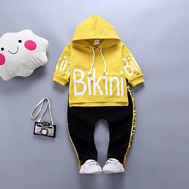 Bebelus Băieți Vintage Alb negru Mată Plisată Manșon Lung In Set Îmbrăcăminte / Copil