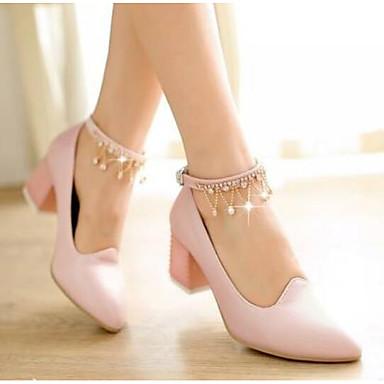 Primavera Cuadrado Azul Confort Tacones 06770380 Mujer Rosa Blanco Tacón PU Zapatos qnfE1T
