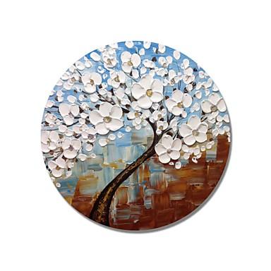 stildecor® pictat manual, cadru circular, abstract, albastru și maro, cu flori albe, ulei de arbori pe panza împachetată