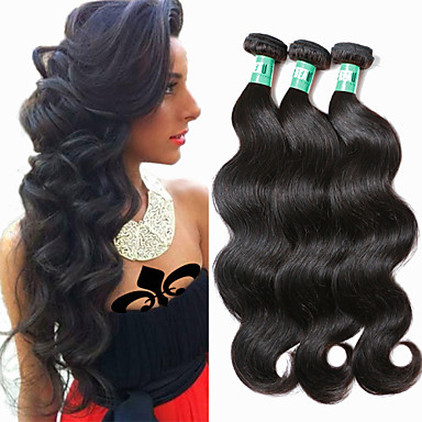 Brazilian Hair Body Wave Virgin Human Hair Natural Color Hair Weaves 3 Bundles Human Hair Weaves Soft / Black Black Human Hair Extensions