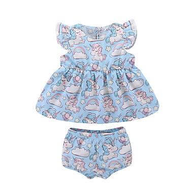 Bebelus Fete Activ Zilnic Imprimeu Fără manșon Lung Bumbac / Poliester Set Îmbrăcăminte Albastru Deschis