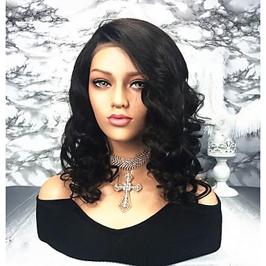 Păr Remy Față din Dantelă Perucă Păr Brazilian Buclat Perucă Partea laterală 150% Densitatea părului Pentru femei Lungime medie Peruci Păr Uman