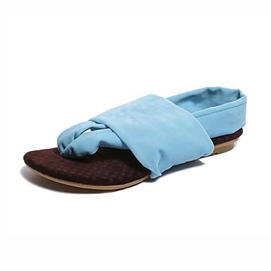 Pentru femei Pantofi Imitație Piele Vară Pantof cu Berete Sandale Toc Jos Negru / Fucsia / Albastru Deschis