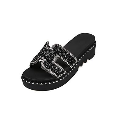voordelige Damespantoffels & slippers-Dames Slippers & Flip-Flops Sleehak Ronde Teen Strass PU Comfortabel Zomer Zwart / Zilver
