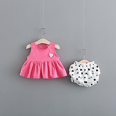 Bebelus Fete Vintage Negru & Roșu Mată Plisată Manșon scurt In Set Îmbrăcăminte / Copil