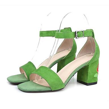 Confort Daim Bottier Talon Boucle 06766368 ouvert Vert Rose Noir Femme Eté Sandales Chaussures Bout clair qYt54t