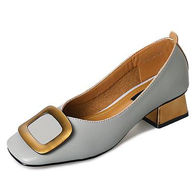 Pentru femei Pantofi PU Vară Balerini Basic Tocuri Blocați călcâiul Vârf pătrat Bej / Albastru Deschis / Kaki