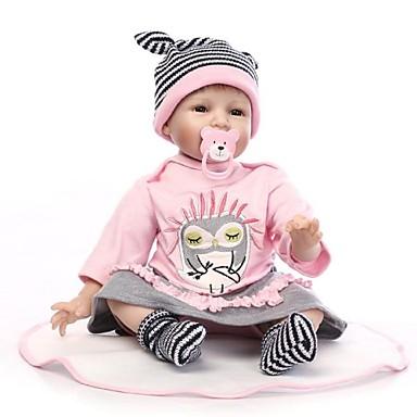 abordables Muñecas reborn-NPKCOLLECTION MUÑECA NPK Muñecas reborn Bebés Niñas 24 pulgada Silicona - Recién nacido Regalo Artificial Implantation Brown Eyes Kid de Chica Juguet Regalo
