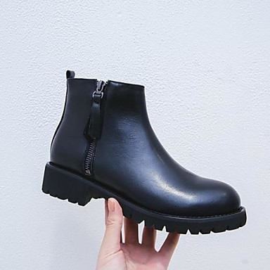 94e63d45814 Women s Cowhide Fall   Winter Bootie Boots Block Heel Round Toe Booties   Ankle  Boots Black