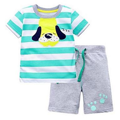Copil Băieți Câine Dungi Manșon scurt Set Îmbrăcăminte