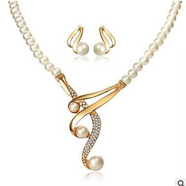 voordelige Dames Sieraden-Dames Druppel oorbellen Ketting Dikke ketting Muzieknoot Dames Klassiek Modieus Imitatieparel Gesimuleerde diamant oorbellen Sieraden Goud Voor Dagelijks / Oorbellen