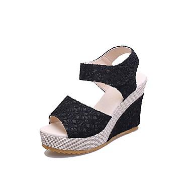 Beige Malla 06732704 Tacón Verano Sandalias Mujer Negro Cuña Zapatos Confort Fw588q