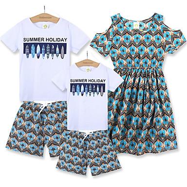 Familie Uite Bloc Culoare Manșon scurt Set Îmbrăcăminte