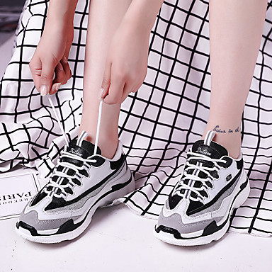 Femme Confort Printemps Chaussures Polyuréthane Talon 06729152 d'Athlétisme Noir Chaussures Marche Plat Blanc rond Bout TtrwTnqHI