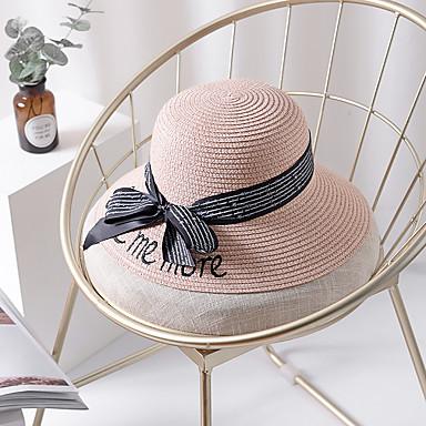 abordables Coiffes-Femme Paille Basique Vacances Chapeau de Paille Bloc de Couleur Fuchsia Kaki Lavande Eté