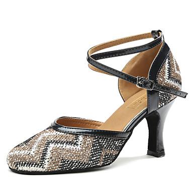 Satin Absätze Damen Pailetten Schuhe Für Dance Modern Pyn80vmNwO