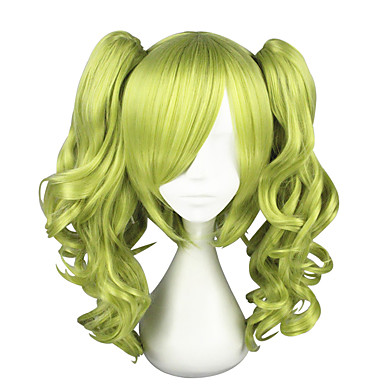 Peruci de Costum Pentru femei Buclat Verde Frizură în Straturi Păr Sintetic Cosplay Verde Perucă Lungime medie Fără calotă Verde