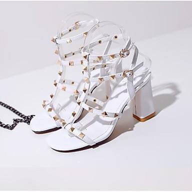 Bottier Cheville Sandales Noir Talon Bride de Eté Cuir 06770603 Chaussures Rivet Femme Boucle Blanc w4qp8xXYBp