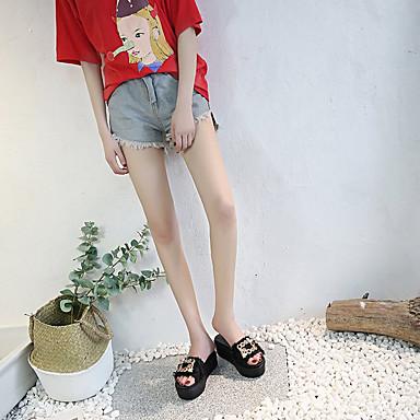 Rosa Zapatillas Tela Zapatos flip Negro plataforma Talón Verano Media Mujer Descubierto 06728581 y flops PU Blanco wpR6xnYn