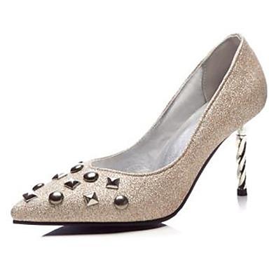 Femme Rivet Mariage Evénement Chaussures Talon mariage Escarpin Bout 06770652 amp; Printemps pointu Basique été Chaussures Polyuréthane Aiguille Or de Soirée Noir rzaqrO