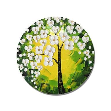 stildecor® pictat manual pictat cadru circular abstract flori albe copac cu fundal verde pictura in ulei pe panza invelita
