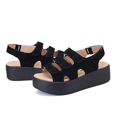 Printemps Daim Confort 06717653 Chaussures Noir Gris Sandales Femme été Creepers p7aEaW1x