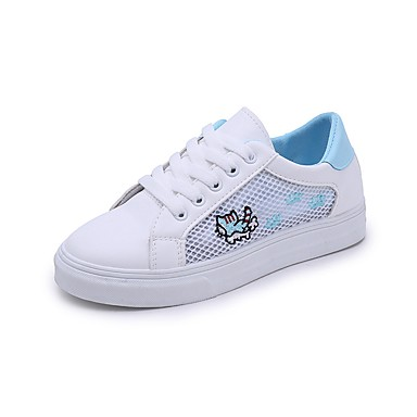 Pentru femei Pantofi PU Primavara vara Confortabili Adidași Toc Drept Vârf rotund Negru / Albastru / Roz