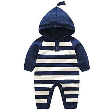Baby Unisex Basic Striped Long Sleeve Polyester Romper Blue / Toddler