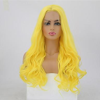 Συνθετικές μπροστινές περούκες δαντέλας Κυματιστό Στυλ Μέσο μέρος Δαντέλα Μπροστά Περούκα Ξανθό Κίτρινο Συνθετικά μαλλιά 24 inch Γυναικεία Ρυθμιζόμενο / Ανθεκτικό στη Ζέστη / Πάρτι Ξανθό Περούκα Μακρύ