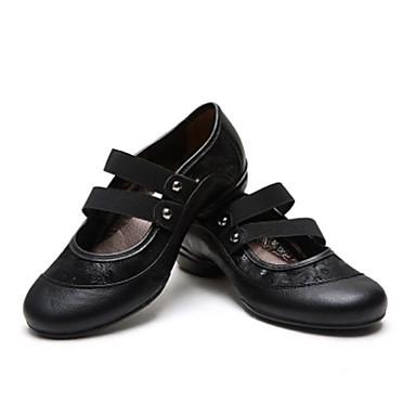 les chaussures de jazz danse baskets talon cubaine cuir cuir cuir chaussures or / noir 0d6930