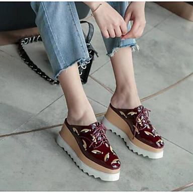 저렴한 여성 신발-여성용 클로그 & 뮬 크리퍼 신발 앞 막힘 내파 가죽 컴포트 봄 여름 화이트 / 와인