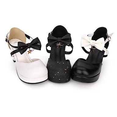 Cipele Gothic Lolita Punk Lolita Gotika Kockasta potpetica Cipele Mašna Zvijezde 6.5 cm CM Obala / Crn / Crn Za PU Halloween kostime