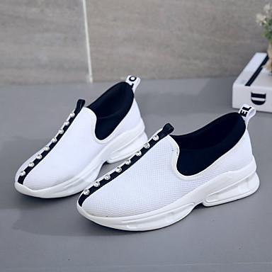 PU Tacón Dedo Blanco Atletismo Confort redondo Plano Otoño Zapatos Paseo Zapatillas Negro 06837031 de Mujer qx1S5UnW