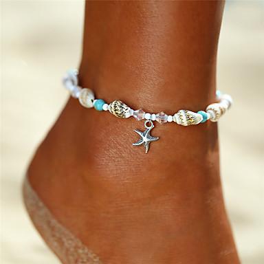voordelige Dames Sieraden-Dames Turkoois Enkelring Enkelband voeten sieraden kralen Yoga Zeester Schelp Dames Bohémien Bikini Modieus Enkelring Sieraden Zilver Voor Lahja Feestdagen