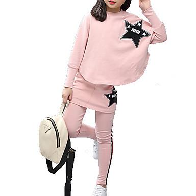 hesapli Kız Çocuk Kıyafet Setleri-Çocuklar Genç Kız Temel Solid Uzun Kollu Kıyafet Seti Doğal Pembe