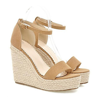 Chaussures Femme Rouge Hauteur Sandales de Confort Daim Escarpin semelle Printemps Basique Noir compensée Amande 06840719 UdSdr7x