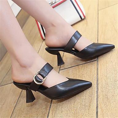 Cuir Bout pointu Bobine Basique Vert Femme Mules Chaussures Eté 06793148 Talon Beige Escarpin amp; Noir Sabot H1xvCq5vw