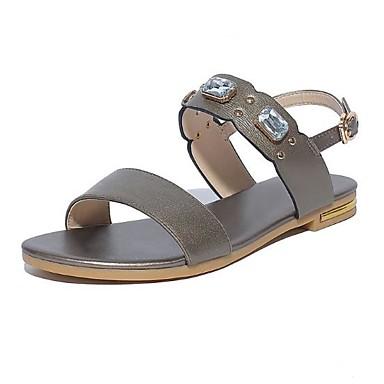 Žene Cipele Mekana koža Ljeto Udobne cipele Sandale Ravna potpetica Otvoreno toe Svjetlucave šljokice Obala / Crn / Tamno siva