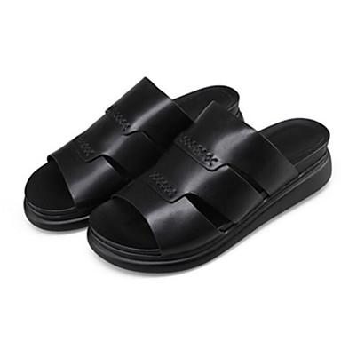 Plat Cuir Chaussures Noir Blanc amp; Talon 06776031 Eté Confort Chaussons Femme Tongs q8U5dqWn