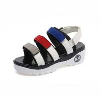 Žene Cipele Brušena koža / PU Ljeto Udobne cipele Sandale Creepersice Obala / Crn