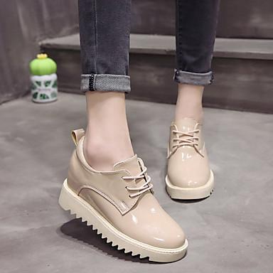 06836417 redondo Tacón Zapatos Beige PU Mujer Dedo Cuña Negro Oxfords Confort Otoño 7qXwxP