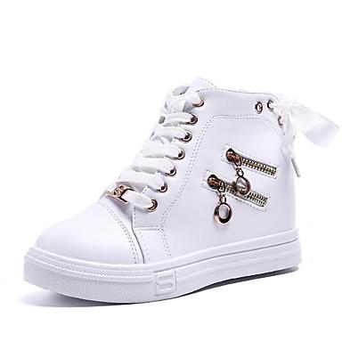 Dedo redondo Mujer Confort deporte Zapatillas Otoño Plano de 06840640 Zapatos Negro PU Blanco Tacón vqUrAzv