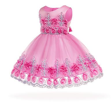 halpa Vauvojen mekot-Vauva Tyttöjen Vintage Bile / Syntymäpäivä Kukka Hihaton Normaali Polvipituinen Puuvilla Mekko Punastuvan vaaleanpunainen