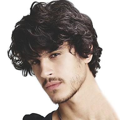 povoljno Perike i ekstenzije-Muškarci Ljudska kosa Tupe Wavy 100% rađeno rukom Nježno / Crna