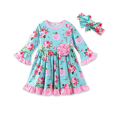 fee34b458d5 Baby Girls  Active   Street chic Daily   Holiday Floral   Print Print Long  Sleeve Spandex Dress Light Blue   Toddler