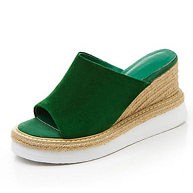 Žene Cipele Ovčja koža Ljeto Udobne cipele / Obične salonke Sandale Wedge Heel Crn / Zelen